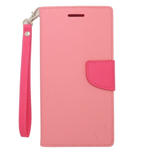 Insten Stand Folio Flip Leather Wallet Flap Pouch Case For HTC Desire 816, Pink/Hot Pink