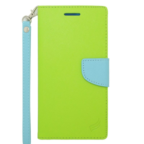 Insten Stand Folio Flip Leather Wallet Flap Pouch Case For HTC Desire 816, Green/Light Blue