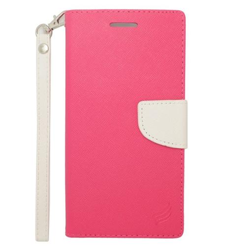 Insten Stand Folio Flip Leather Wallet Flap Pouch Case For HTC Desire 816, Pink/White