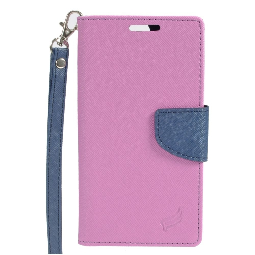 Insten Stand Folio Flip Leather Wallet Flap Pouch Case Cover Compatible With HTC One A9, Purple/Blue