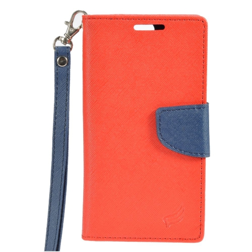 Insten Stand Folio Flip Leather Wallet Flap Pouch Case Cover Compatible With HTC One A9, Red/Blue