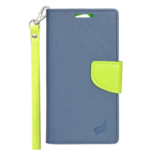 Insten Stand Folio Flip Leather Wallet Flap Pouch Case For HTC One A9, Dark Blue/Green