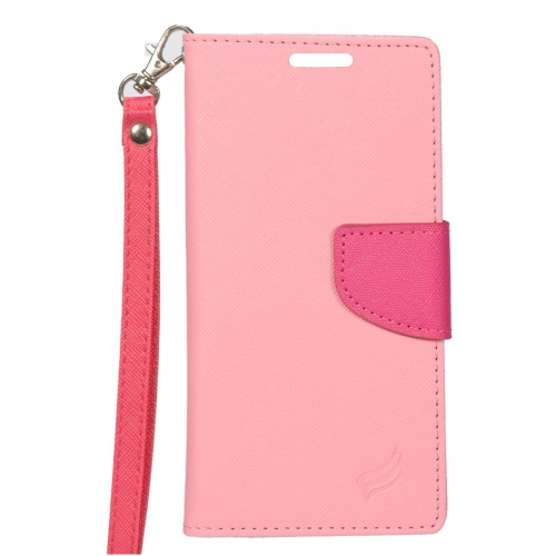 Insten Stand Folio Flip Leather Wallet Flap Pouch Case For HTC One A9, Pink/Hot Pink