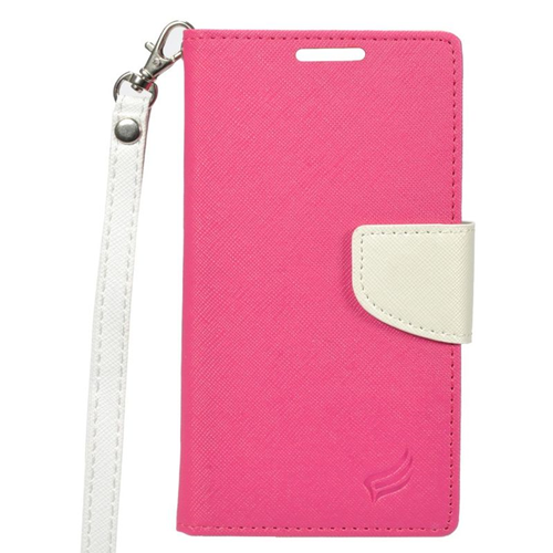 Insten Stand Folio Flip Leather Wallet Flap Pouch Case Cover Compatible With HTC One A9, Pink/White