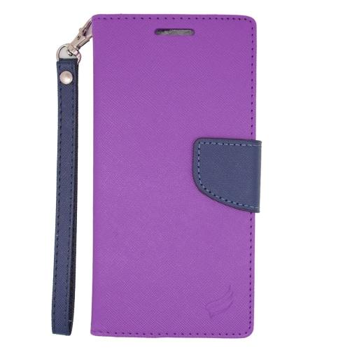 Insten Stand Folio Flip Leather Wallet Flap Pouch Case For HTC Desire Eye, Purple/Blue