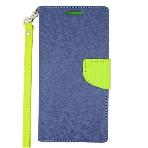 Insten Stand Folio Flip Leather Wallet Flap Pouch Case For HTC Desire Eye, Dark Blue/Green