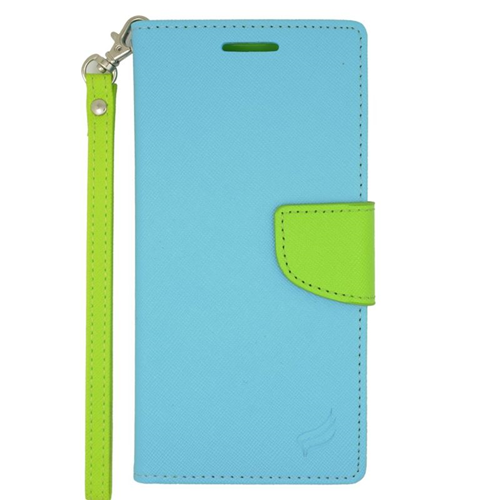 Insten Stand Folio Flip Leather Wallet Flap Pouch Case For HTC Desire Eye, Light Blue/Green