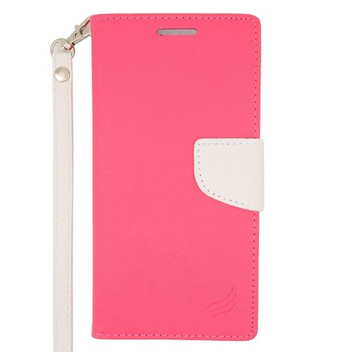 Insten Stand Folio Flip Leather Wallet Flap Pouch Case For HTC Desire Eye, Pink/White