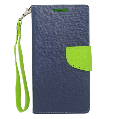 Insten Stand Folio Flip Leather Wallet Flap Pouch Case For HTC One M8, Dark Blue/Green