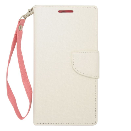 Insten Stand Folio Flip Leather Wallet Flap Pouch Case Cover Compatible With HTC One M8, White/Pink