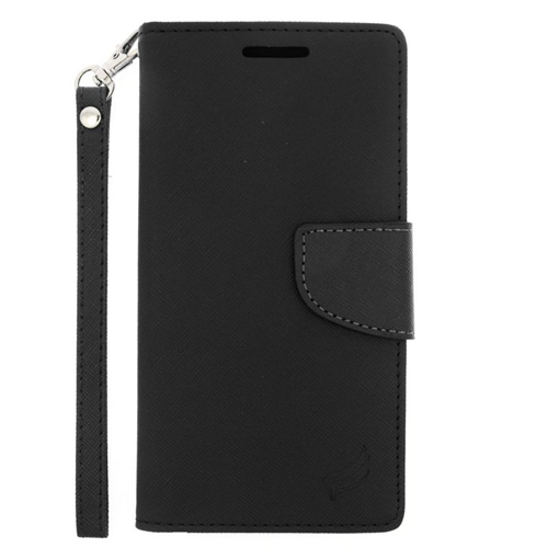Insten Stand Folio Flip Leather Wallet Flap Pouch Case Cover Compatible With HTC One M9, Black