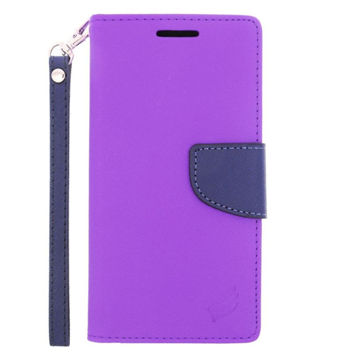 Insten Stand Folio Flip Leather Wallet Flap Pouch Case Cover Compatible With HTC One M9, Purple/Blue
