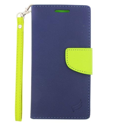 Insten Stand Folio Flip Leather Wallet Flap Pouch Case For HTC One M9, Dark Blue/Green