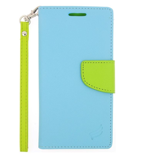 Insten Stand Folio Flip Leather Wallet Flap Pouch Case For HTC One M9, Light Blue/Green