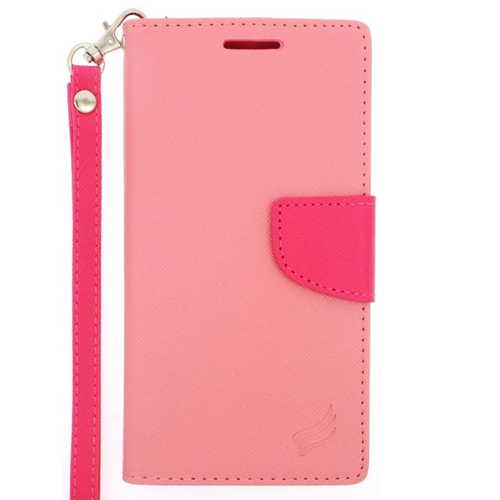 Insten Stand Folio Flip Leather Wallet Flap Pouch Case For HTC One M9, Pink/Hot Pink