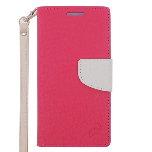 Insten Stand Folio Flip Leather Wallet Flap Pouch Case Cover Compatible With HTC One M9, Pink/White