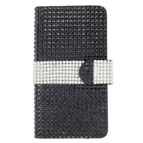 Insten Folio Flip Rhinestone Leather Wallet Case For LG Destiny/Power/Risio/Tribute 2, Black/Silver
