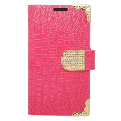 Insten Folio Flip Leather Wallet Case With Diamond For LG Optimus L70 MS323/Realm LS620, Pink/Gold