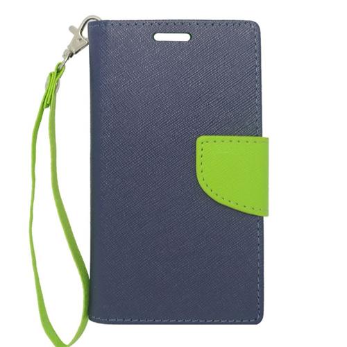 Insten Folio Flip Leather Wallet Case For LG Optimus L70 MS323/Realm LS620, Dark Blue/Green