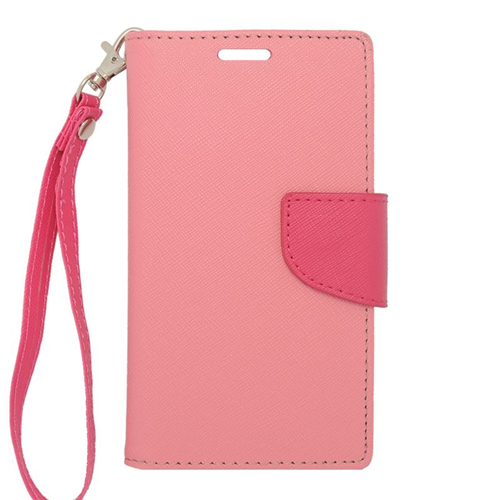 Insten Folio Flip Leather Wallet Flap Pouch Case For LG Optimus L70 MS323/Realm LS620, Pink/Hot Pink