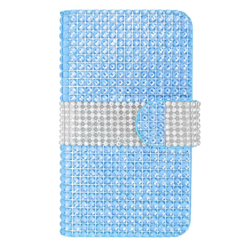 Insten Folio Flip Rhinestone Leather Case For LG Optimus L70 MS323/Realm LS620, Light Blue/Silver