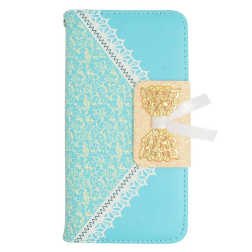 Insten Folio Flip Leather Wallet Flap Pouch Case For LG Optimus L70 MS323/Realm LS620, Blue/Gold