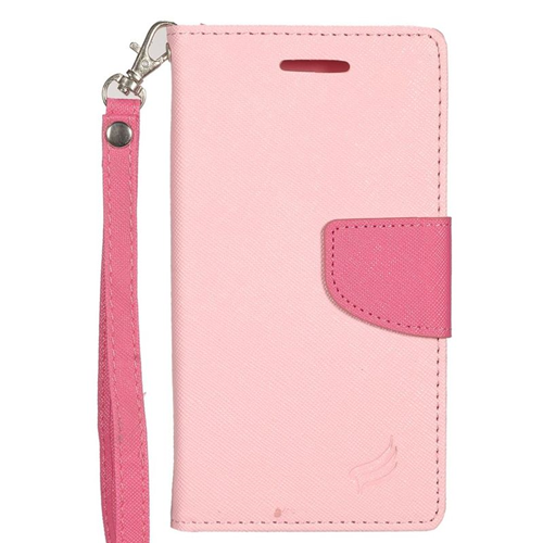Insten Stand Folio Flip Leather Wallet Flap Pouch Case For LG Optimus Zone 3/Spree, Pink/Hot Pink
