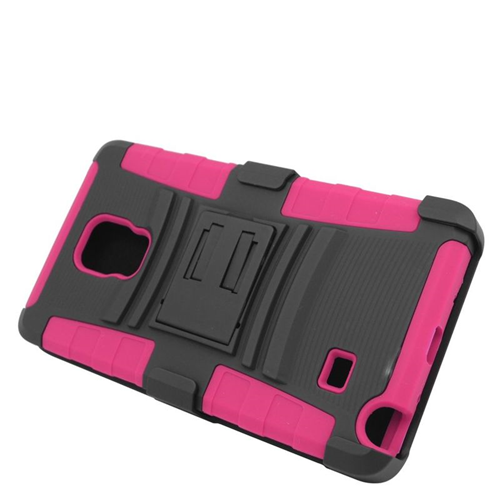 Insten Hybrid Stand PC/Silicone Holster Case For Samsung Galaxy Note Edge, Black/Hot Pink