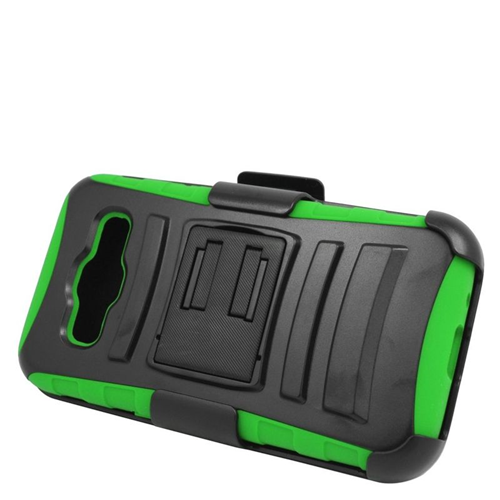Insten Hybrid Stand PC/Silicone Holster Case For Samsung Galaxy Core Prime, Black/Green