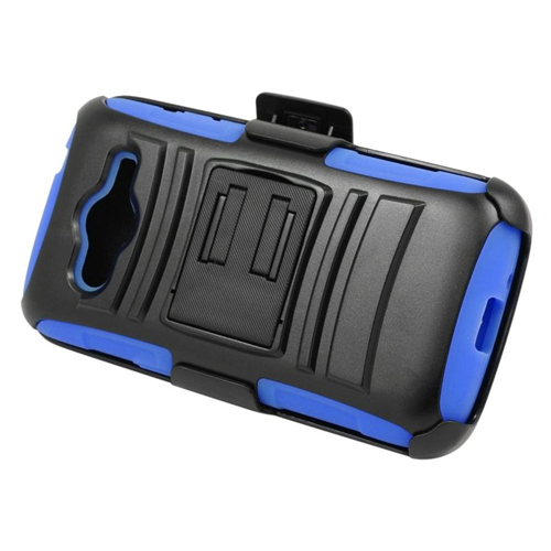 Insten Hybrid Stand PC/Silicone Holster Case For Samsung Galaxy Avant, Black/Blue