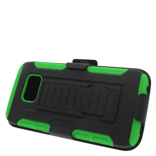 Insten Car Armor Hybrid Stand PC/Silicone Holster Case For Samsung Galaxy S6 Edge, Black/Green