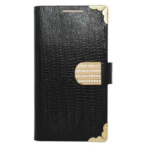 Insten Folio Flip Leather Wallet Flap Pouch Case With Diamond Compatible HTC Desire 510, Black/Gold