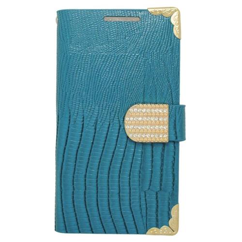 Insten Folio Flip Leather Wallet Flap Pouch Case With Diamond For HTC Desire 510, Light Blue/Gold