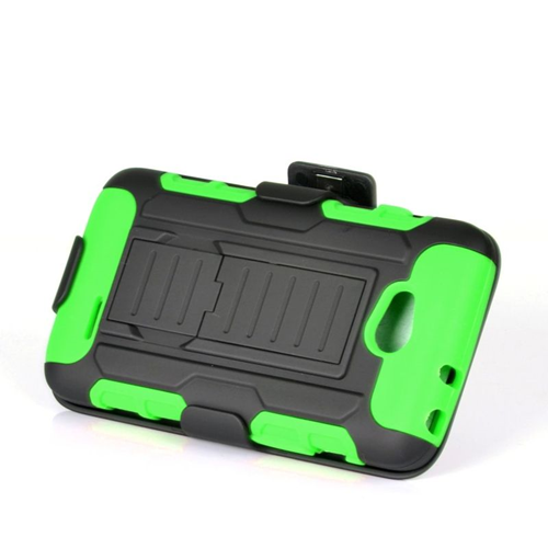 Insten Car Armor Hybrid PC/Silicone Holster Case For LG Optimus L70 MS323/Realm LS620, Black/Green