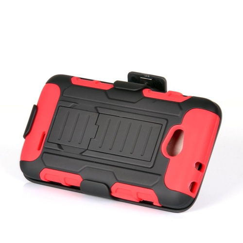 Insten Car Armor Hybrid PC/Silicone Holster Case For LG Optimus L70 MS323/Realm LS620, Black/Red