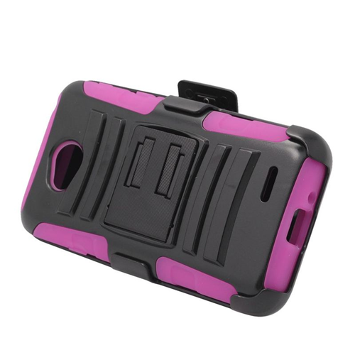 Insten Hybrid PC/Silicone Holster Case For LG Optimus L70 MS323/Realm LS620, Black/Hot Pink