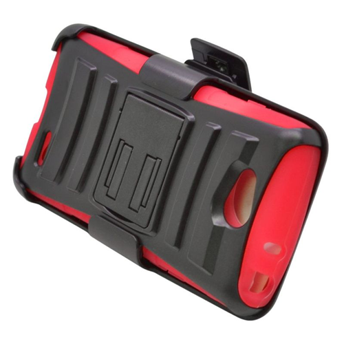 Insten Hybrid Stand PC/Silicone Holster Case For LG Optimus L90, Black/Red