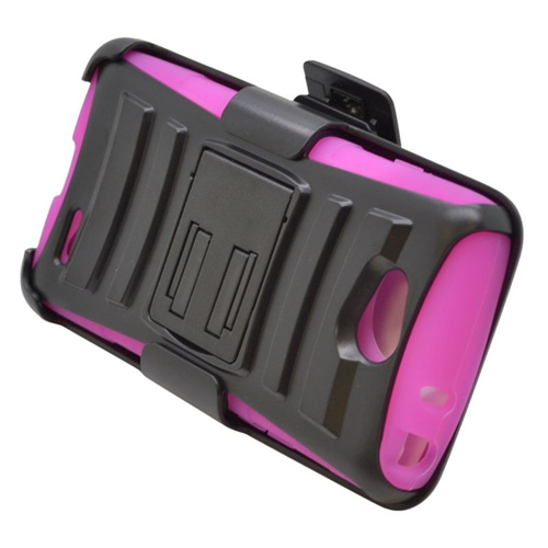 Insten Hybrid Stand PC/Silicone Holster Case For LG Optimus L90, Black/Hot Pink