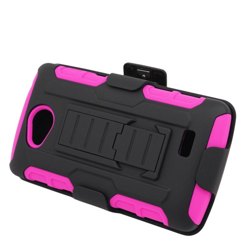 Insten Car Armor Hybrid Stand PC/Silicone Holster Case For LG Tribute, Black/Hot Pink