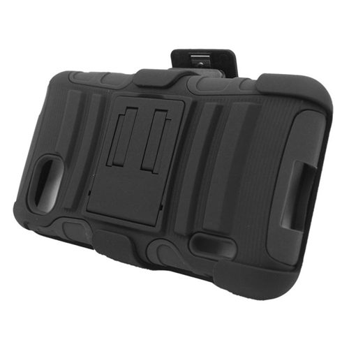 Insten Hybrid Stand PC/Silicone Holster Case For LG Optimus F3 LS720, Black