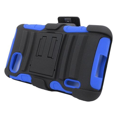 Insten Hybrid Stand PC/Silicone Holster Case For LG Optimus F3 LS720, Black/Blue