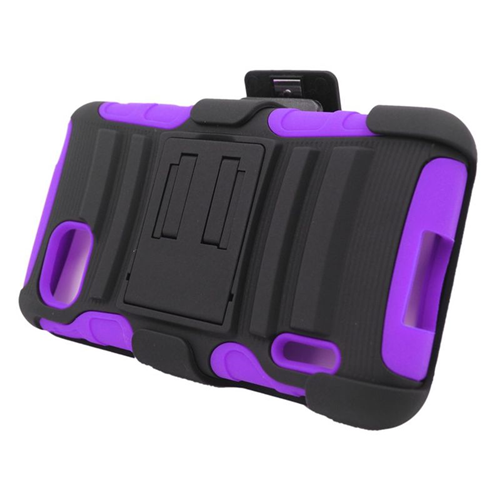 Insten Hybrid Stand PC/Silicone Holster Case For LG Optimus F3 LS720, Black/Purple