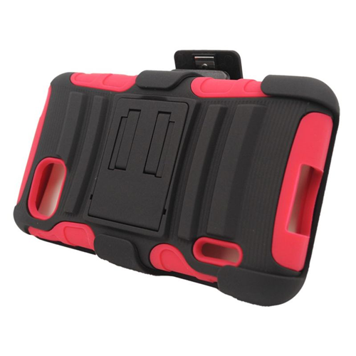 Insten Hybrid Stand PC/Silicone Holster Case For LG Optimus F3 LS720, Black/Red