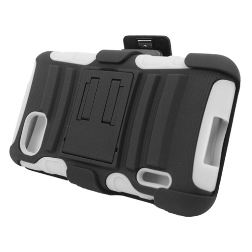 Insten Hybrid Stand PC/Silicone Holster Case For LG Optimus F3 LS720, Black/White