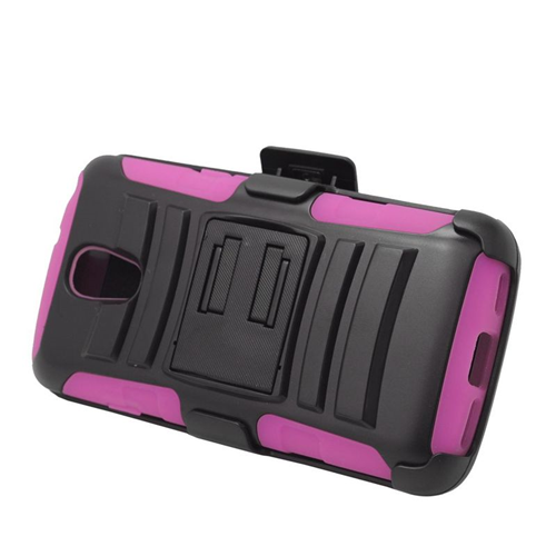 Insten Hybrid Stand PC/Silicone Holster Case For LG Volt LS740, Black/Hot Pink