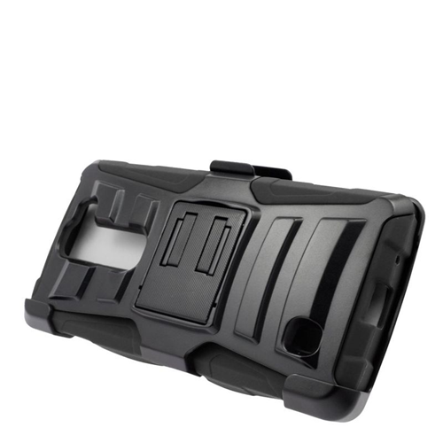 Insten Dual Layer Hybrid Stand PC/Silicone Holster Case Cover Compatible With LG Volt 2, Black