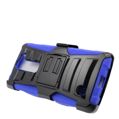 Insten Dual Layer Hybrid Stand PC/Silicone Holster Case Cover Compatible With LG Volt 2, Black/Blue