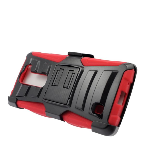Insten Dual Layer Hybrid Stand PC/Silicone Holster Case Cover Compatible With LG Volt 2, Black/Red
