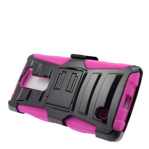 Insten Hybrid Stand PC/Silicone Holster Case For LG Volt 2, Black/Hot Pink