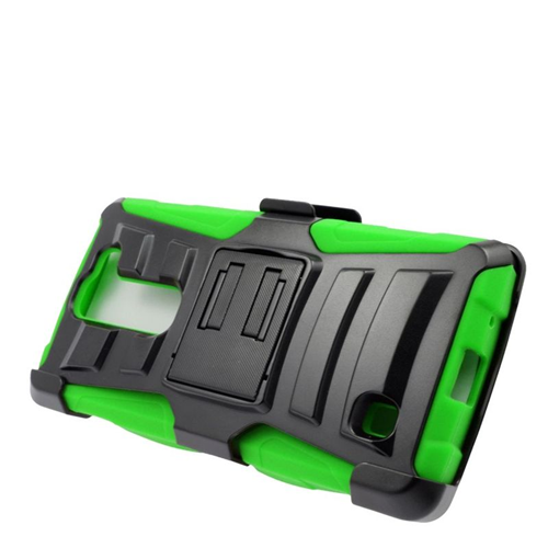 Insten Dual Layer Hybrid Stand PC/Silicone Holster Case Cover Compatible With LG Volt 2, Black/Green